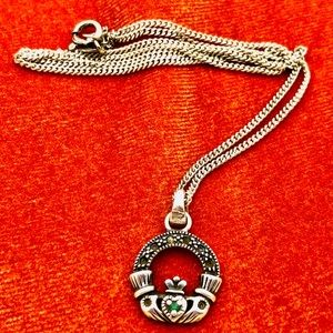 Vintage Silver Hand Heart Crown Necklace